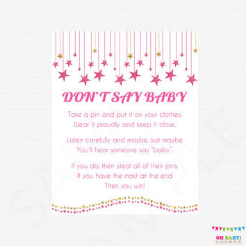 Pink and Gold Baby Shower Don't Say Baby Game Sign - Girl Baby Shower Game  - Glitter Baby Shower / INSTANT DOWNLOAD / PRINTABLE SGS0002-pg