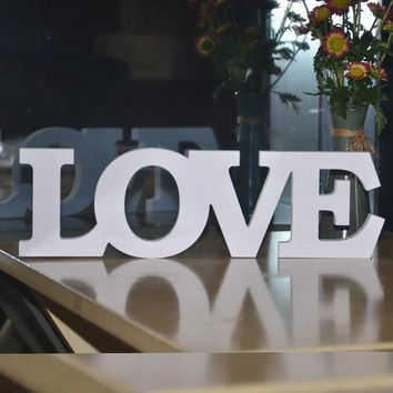 Wooden Letters White LOVE Decorative Crafts