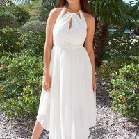 There She Goes Ivory Halter Cut Out High Low Maxi Dress