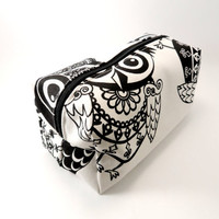 Folk Owl in Black and White Makeup Bag, Gadget Case, Under 15, Pencil Case, Medium, Zippered, Cosmetic Case, For Her