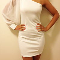White One Shoulder Cocktail Party Dress, Evening Dress