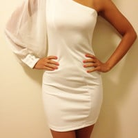 White One Shoulder Cocktail / Party Dress, Evening Dress
