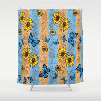 Trendy Blue Butterflies and Golden Sunflowers Shower Curtain by DMiller