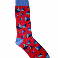 Red Geometric Mens Socks One Size Fits All