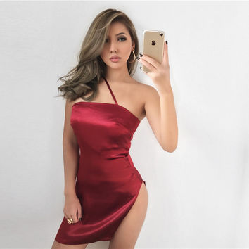 Silky Way High Slit Red Mini Dress