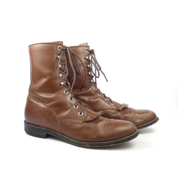 Roper Boots Vintage 1980s Justin Carmel Brown Lace up men's size 7 1/2