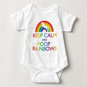 Keep Calm and Poop Rainbows Unicorn Baby Bodysuit