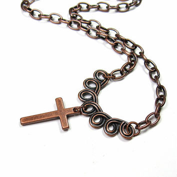 Cross Necklace, Religious, Christian Jewelry, Antiqued Copper, Inspirational, Faith, Catholic, Religious Cross, Crucifix, Religious Gifts