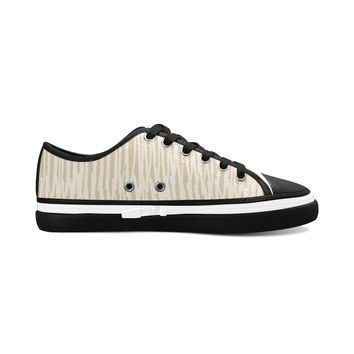 Brown Stripes Theme Black Base Women's Nonslip Canvas Shoes