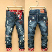 Winter Korean Stylish Men Pants Men's Fashion Slim Thicken Jeans [6528465411]