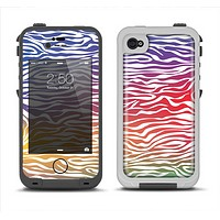 The Colorful Vector Zebra Animal Print Apple iPhone 4-4s LifeProof Fre Case Skin Set