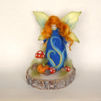 Autumn Garden Fairy, Waldorf Inspired, Needle Felted
