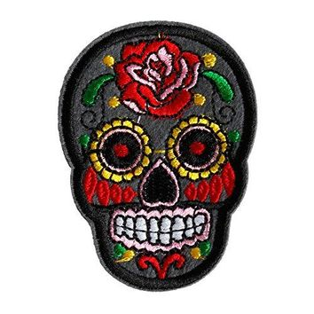 Hunulu Sugar Skull Flower Iron On Applique Embroidered Patch DIY Sewing Patch Sticker - Gray