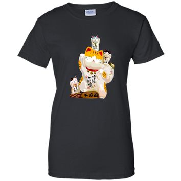 Chinese New Year Gift T-Shirt Japanese Fortune Lucky Cat Tee