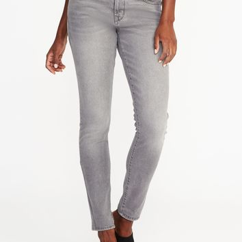 Mid-Rise Curvy Skinny Gray Jeans for Women |old-navy