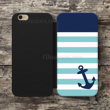 Monogram Nautical Anchor Minty Blue Stripe Wallet Case For iPhone 6S Plus 5S SE 5C 4S case, Samsung Galaxy S3 S4 S5 S6 Edge S7 Edge Note 3 4 5 Cases