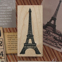 Paris Eiffel Tower - Large Wooden Mounted Rubber Stamp - Zakka Stationery