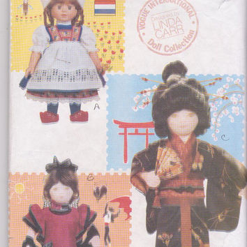 """Vogue International Doll Collection pattern by Linda Carr for 18"""" dolls costumes from Japan, Spain, Holland Vogue 7071 CUT and COMPLETE"""