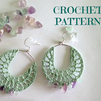 Crochet Earrings Tutorial, Digital Download Crochet Pattern, Crochet Tutorial, Beaded Jewelry Tutorial, Instant Download PDF Pattern