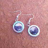 Charoite Earrings with Silver Circles Round Purple Stone Amethyst Beaded Earrings