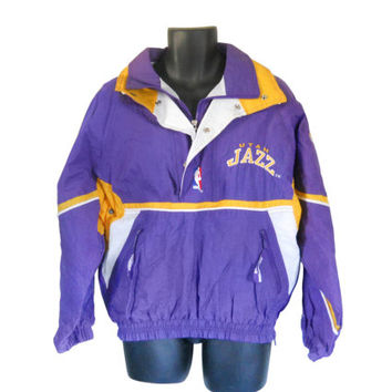 Vintage Utah Jazz 90s Starter Jacket Nylon Jacket 90s Pullover Men Pullover Jacket Lightweight Jacket NBA Jacket Size Small Light Jacket