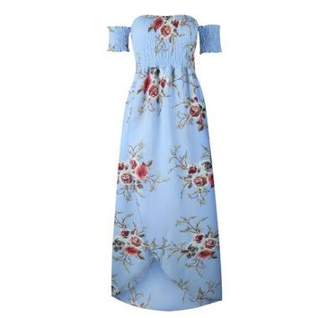 Blue Summer print long paragraph dress