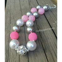 Girls Chunky Necklace - Bubblegum Necklace - Silver and Pink - Pearl and Pink - Silver and Pink First Birthday - Toddler Pearl Necklace