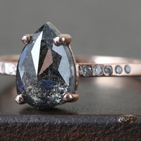 Natural Black Rose Cut Diamond Ring with Pavé Band