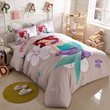 Mermaid cartoon printed bedding sets girls twin queen king cotton princess comforter duvet cover 3/4/5pcs home textile decor