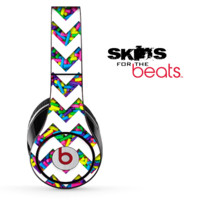 Neon Sprinkles and White Chevron Pattern Skin for the Beats by Dre Solo, Studio, Wireless, Pro or Mixr