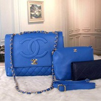 CHANEL Three-piece Fashion Brand Women High Quality Leather Tote Bag Shoulder Bag F blue