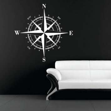 Medium Compass Rose Nautical Vinyl Wall Decal FREE SHIPPING