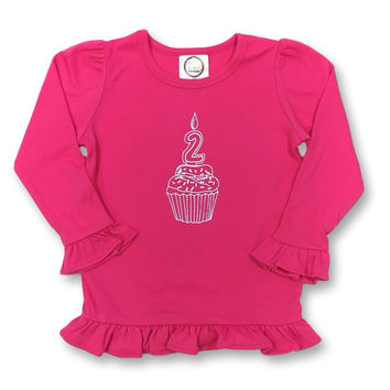 2nd Birthday Pink Long Sleeve Ruffle Tee