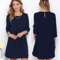 Round Neck 3/4 Sleeve Chiffon Dress