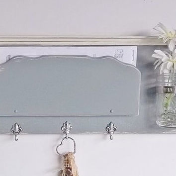 Mail Holder and Organizer Key Hooks  Mason Jar Shelf .. Schoolhouse Slate Gray