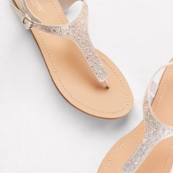 Metallic T-Strap Thong Sandals with Crystals | David's Bridal