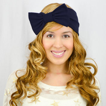 Turban Headband Bow NAVY BLUE Stretch headband dark blue Headwrap Dark Blue Turban bow Navy Blue headband Womens headwrap knitted headband