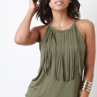 Knit Fringe Sleeveless Cami Top