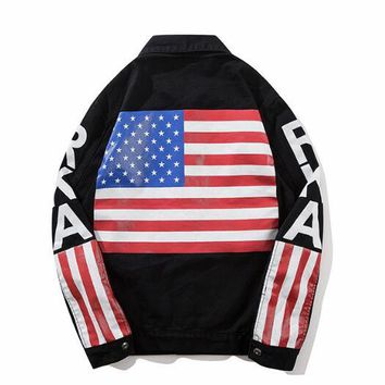 jay z jean jacket American flag denim guci jacket motorcycle cowboy coat denim Men's USA Flag Jacket tyga Vintage kanye Denim