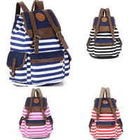 On Sale Comfort Hot Deal Stylish Casual Back To School College Stripes Bags Canvas Backpack [8070742023]