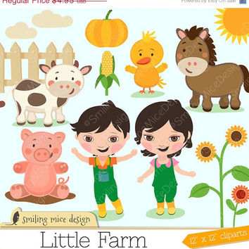 80% OFF SALE Little Farm clipart / farm clipart / little farmers clip art pack