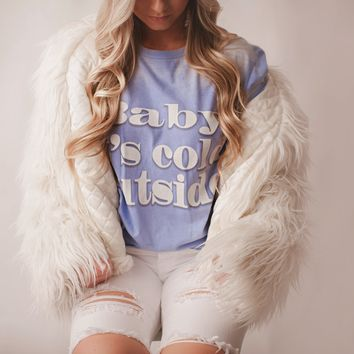 """Gina """"Baby It's Cold Outside"""" Blue to White Tee"""