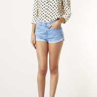 MOTO Blue High Waisted Hotpant - Shorts - Clothing - Topshop USA