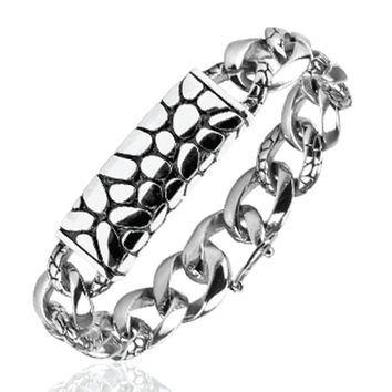 BodyJ4You Bracelet Men's Stainless Steel Link Wrist Dragon Biker