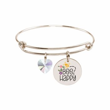 Pink Box Stainless Steel Colorful Inspirational Bangle made with Crystals from Swarovski
