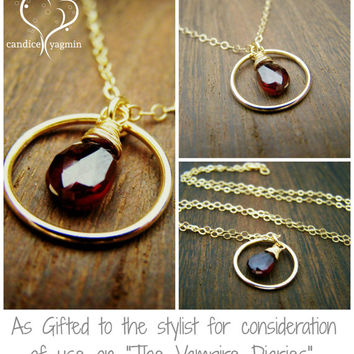 Garnet Gemstone Wire Wrapped Briolette Teardrop Necklace - Gold Filled Necklace - January Birthstone - Garnet Necklace - Circle Necklace