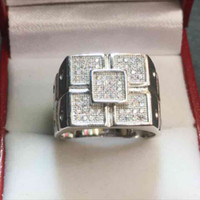 Crystal ring solid Silver Men's Jewelry