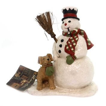 Christmas SNOWMAN AND DOG Polyresin Hand Painted Cp7905