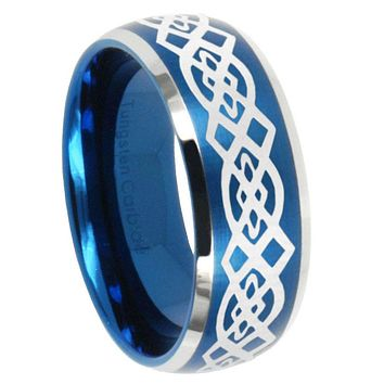 10mm Celtic Knot Dome Brushed Blue 2 Tone Tungsten Carbide Engagement Ring