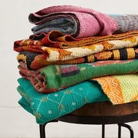 Hand-Stitched Kantha Throw by Anthropologie Multi One Size Throws